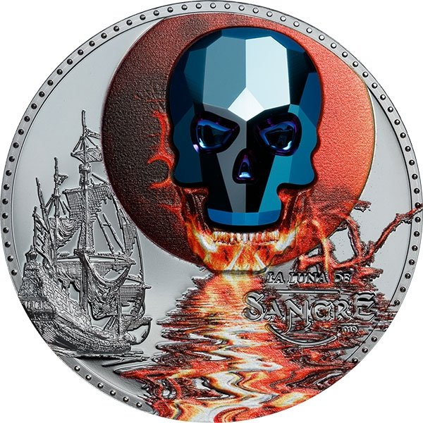 Crystal Skull – Luna de Sangre 1 oz Proof Silver Coin 1000 Francos Equatorial Guinea 2019