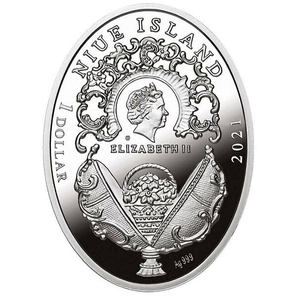 Memory of Azov Egg Imperial Faberge Eggs Proof Silver Coin 1$ Niue 2021