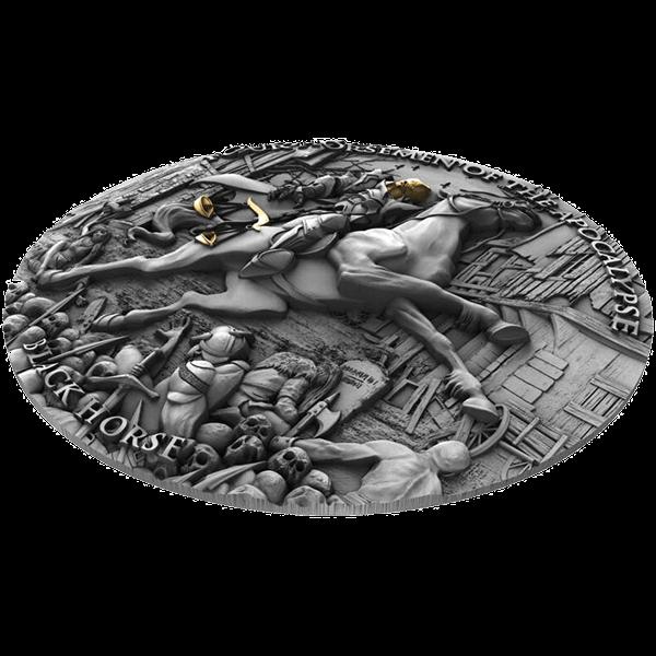 Black Horse Four Horsemen of the Apocalypse 2 oz Antique finish Silver Coin 5$ Niue 2020