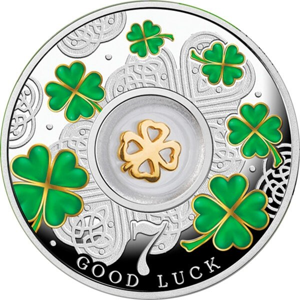 Cameroon 2016 500 Francs Seven Four-leaf Clovers Lucky Seven Proof Silver Coin