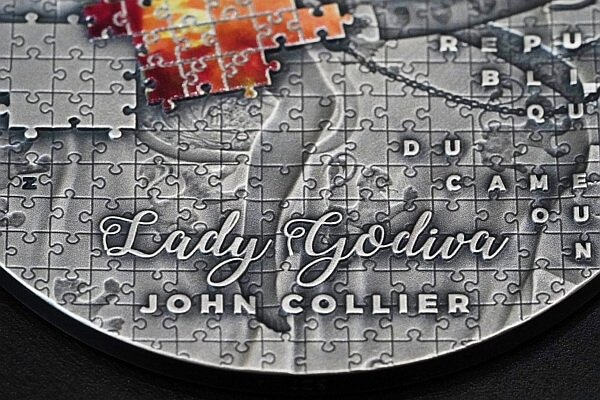 Lady Godiva Collier soPuzzle Art  3 oz Antique Finish Silver Coin 3000 Francs CFA Cameroon 2020