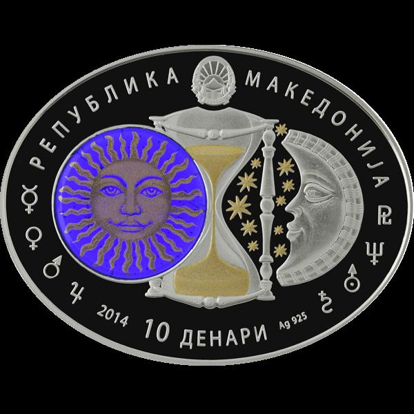 Macedonia 2014 10 Denars Sagittarius Signs of the Zodiac Proof Silver Coin
