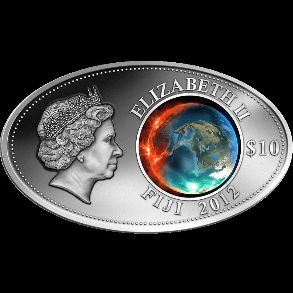 Apocalypse 2012 Satined Silver Coin 10$ Fiji 2012