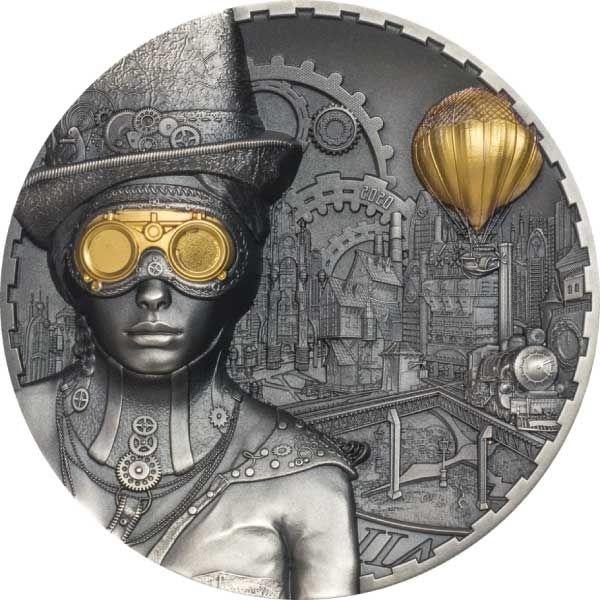 Steampunk 3 oz Antique finish Silver Coin 20$ Cook Islands 2020