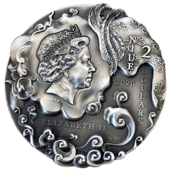 Sun Wukong Journey to the West 2 oz Antique finish Silver Coin 2$ Niue 2020