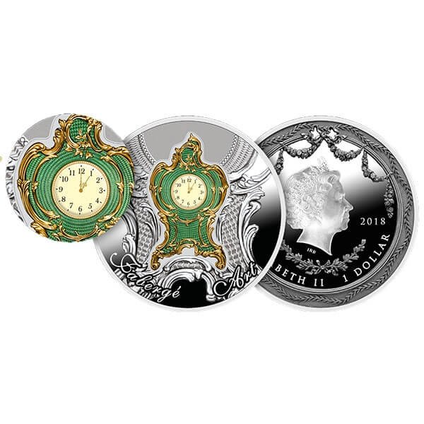 Imperial Desk Clock Art of Faberge 1 oz Proof Silver Coin 1$ Niue 2018