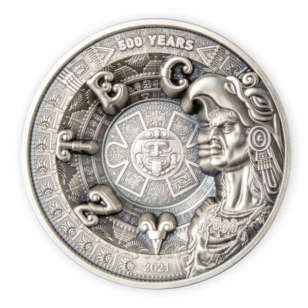 Aztec Empire Multiple Layer Giant 1 Kilo Antique finish Silver Coin 25$ Samoa 2021