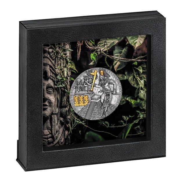 Holcan Mayan Warrior 2 oz Antique Finish Silver Coin 5$ Niue 2020