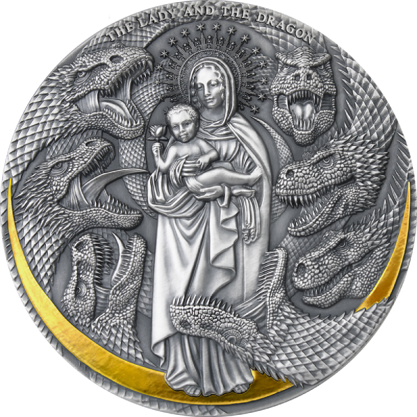 The Lady and the Dragon Apocalypse 3 oz Antique finish Silver Coin 3000 Francs Cameroon 2021