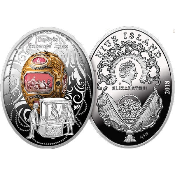 Catherine the Great Egg Imperial Faberge Eggs Proof Silver Coin 1$ Niue 2018