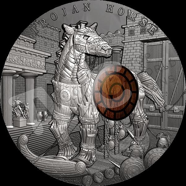 Niue 2016 10$ Trojan Horse Ancient Myths 2 oz  Antique Finish Silver Coin