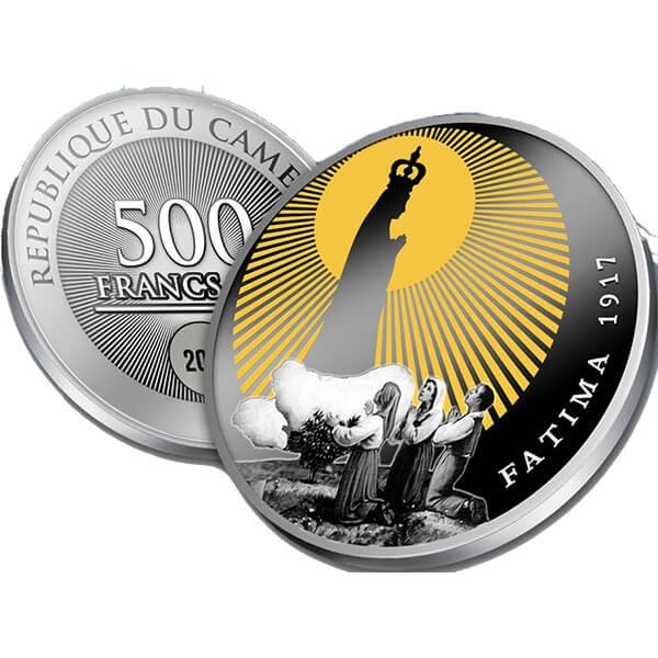 100th anniversary of the Apparitions of Fatima Proof Silver Coin 500 Francs Cameroon 2017