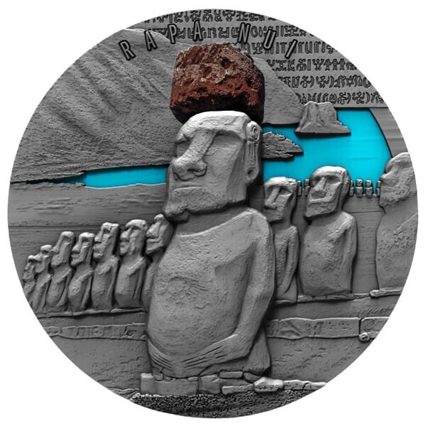 Rapa Nui 2 oz Antique finish Silver Coin 2000 Francs Cameroon 2020