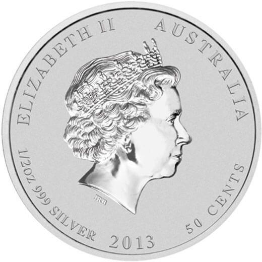 Australia 2013 1/2$ Year of the Snake Bullion 1/2 oz UNC Silver Coin