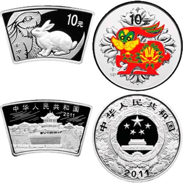 China 2011 2 x 10 Yuan Year of the Rabbit Color & Fan (non matching COAs) Lunar Proof Silver Set