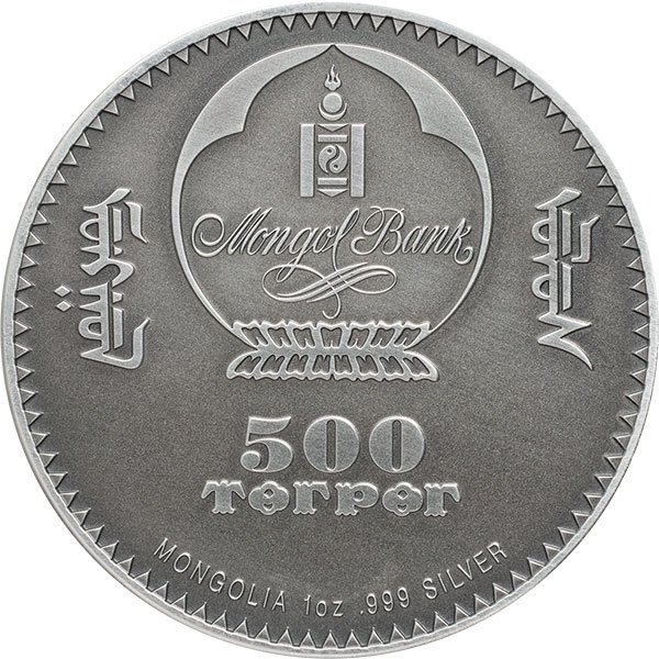 Sinraptor Evolution of Life 2019 1 oz Antique finish Silver Coin 500 togrog Mongolia 2019