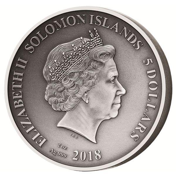Odysseus Return The Adventures of Odysseus 2 oz Antigue finish Silver Coin 5$ Solomon Islands 2018