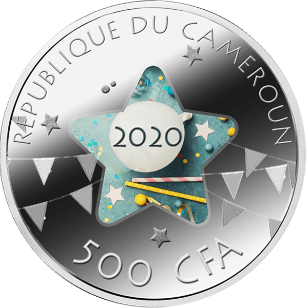 Happy Birthday Proof Silver Coin 500 Francs Cameroon 2020
