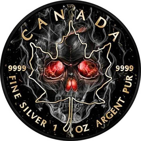 Maple Leaf Smoked Skull 1oz Black Ruthenium BU Silver Coin 5$ Canada 2018