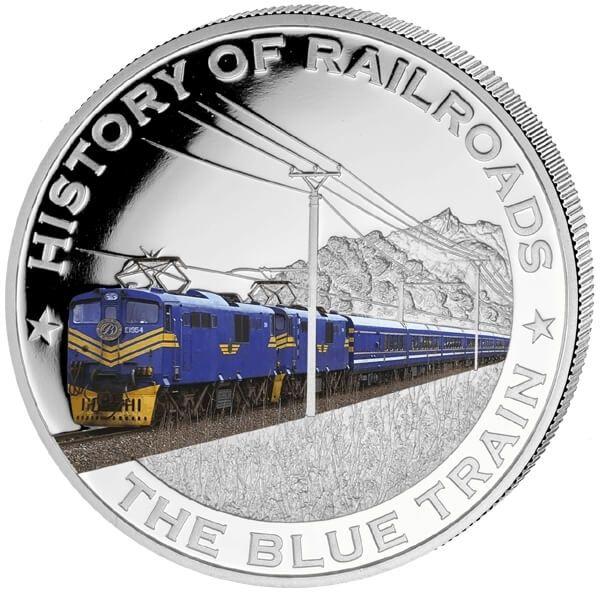 Liberia 2011 5$ Blue Train. History of Railroads Proof Silver Coin