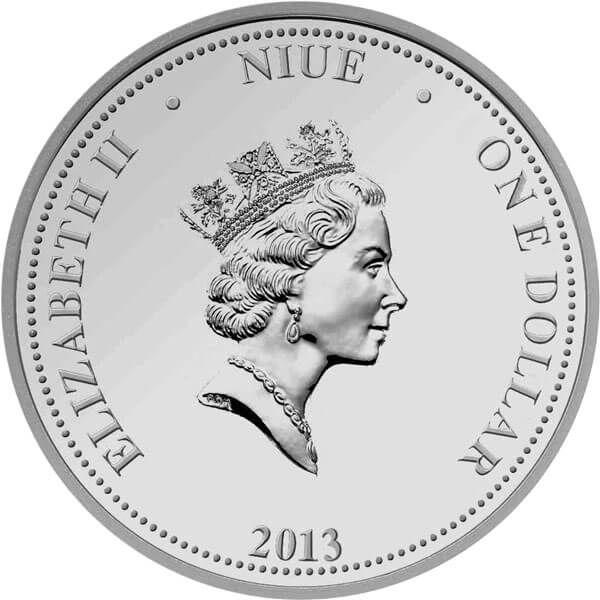 Niue 2013 1$ Iris Barbata Irises Proof Silver Coin
