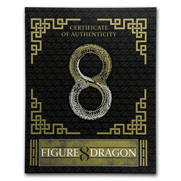 Figure eight Dragon 2 oz Antique finish Silver Coin 2$ Australia 2019