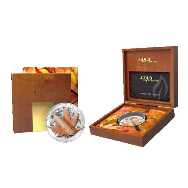 Tokelau 2017 5$ Japanese Maple Leaf Gold Leaf Collection 1 oz Proof Silver Coin