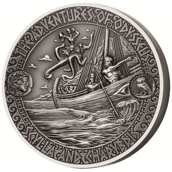 The Strait of Scylla & Charybdis The Adventures of Odysseus 2 oz Antigue finish Silver Coin 5$ Solomon Islands 2018