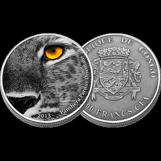 Congo 2013 2000 franc Nature's Eyes Amur Leopard (The Panthera Pardus Orientalis)  2 oz Proof Silver Coin