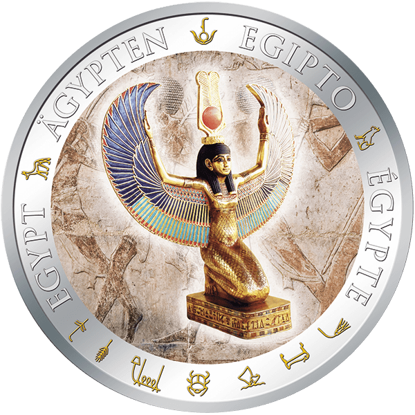 Fiji 2012 1$ Winged Isis Golden and Colorful Egypt  Proof Silver Coin