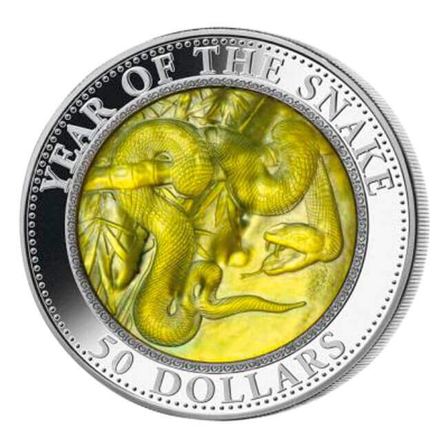 Cook Islands 2013 50$ Year of the Snake Mother of Pearl 5 Oz Proof Silver Coin