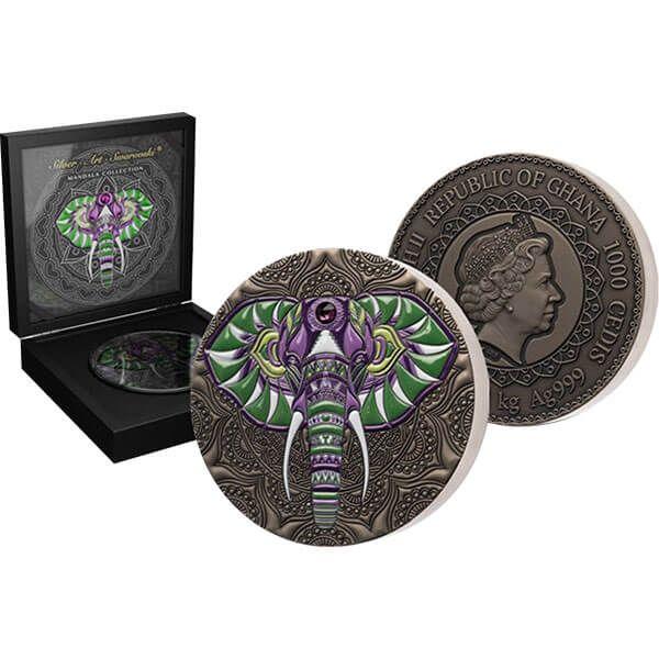 Elephant Mandala Collection 1 kilo Antique finish Silver Coin 1000 Cedis Republic of Ghana 2021