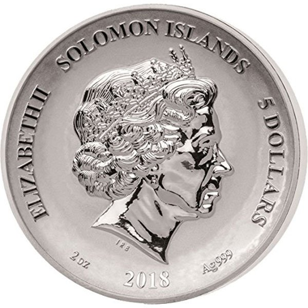 Dragon Legends and Myths II 2oz Reverse Proof Silver Coin 5$ Solomon Islands 2018
