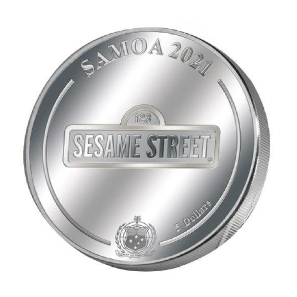 Cookie Monster Sesame Street 1 oz Proof Silver Coin 5$ Samoa 2021