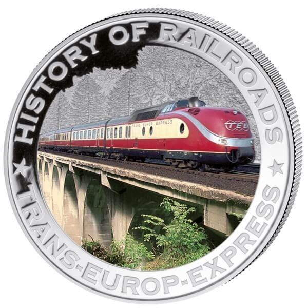 Liberia 2011 5$ Trans-Europ-Express. History of Railroads Proof Silver Coin