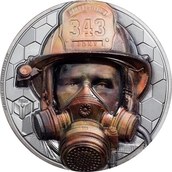 Firefighter Real Heroes 3 oz Black Proof Silver Coin 20$ Cook Islands 2021