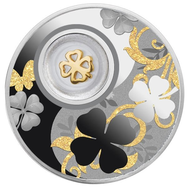 Four-leaf Clover Lucky Coins Proof Silver Coin 500 Francs Cameroon 2020