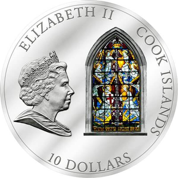 Cook Islands 2011 10$ London Westminster Abbey Windows Of Heaven Proof Silver Coin