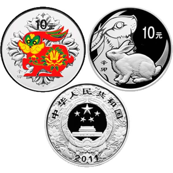 China 2011 2 x 10 Yuan  Year of the Rabbit Color & Round (non matching COAs) Lunar Proof Silver Set  Color + 1 Proof