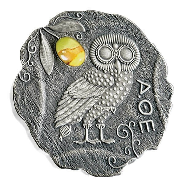 Owl of Athena Antique finish Silver Coin Cameroon 2017 500 Francs