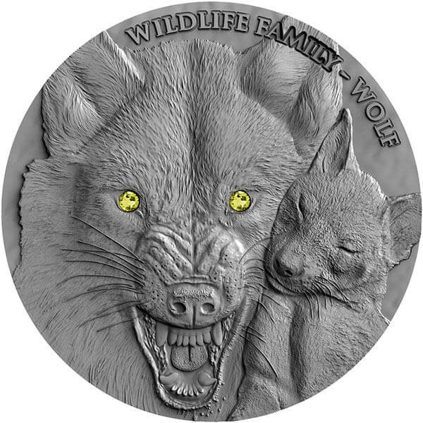 Wolf Wildlife Family 1oz Antique finish Silver Coin 1$ Niue 2017