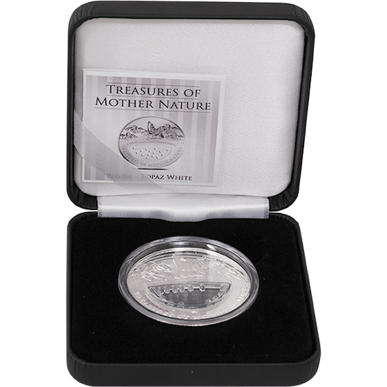 Fiji 2012 1$ Russia - Topaz White Treasures of Mother Nature Proof Silver Coin