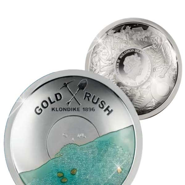 125 Years Klondike Gold Rush 50 g Plateau Minted Proof-like Silver Coin 5$ Solomon Islands 2021