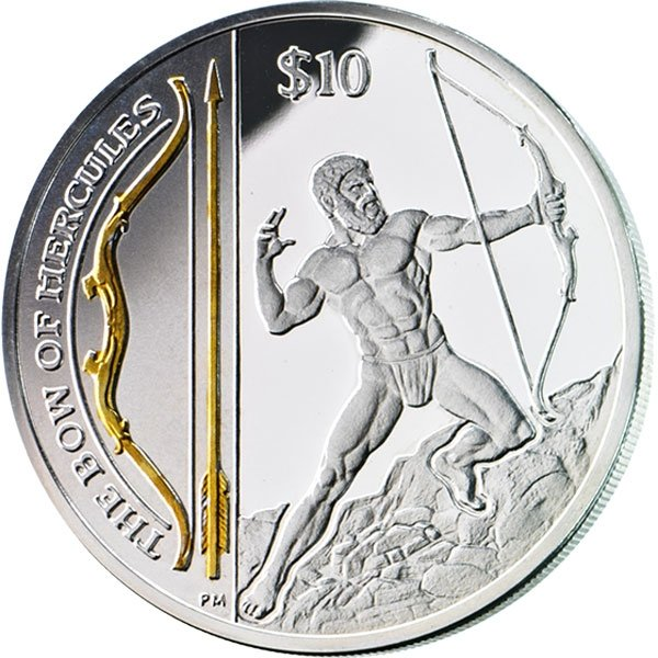 British Virgin Islands 2013 10$ The Bow of Hercules Legendary Weapons Proof Silver Coin