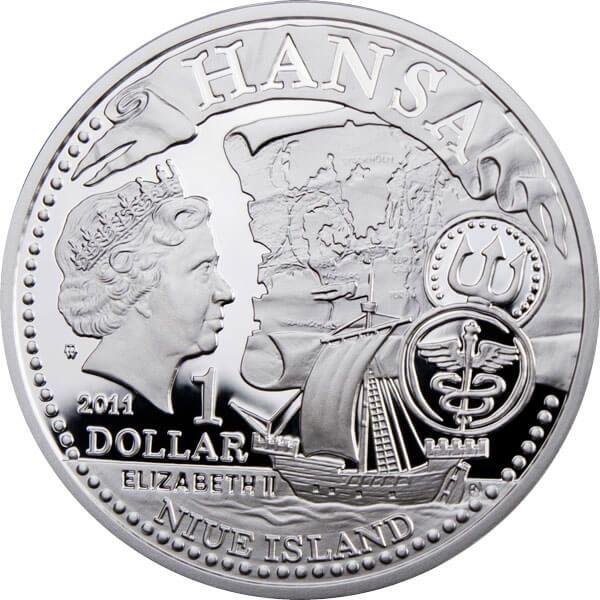 Szczecin Hanseatic Towns Proof Silver Coin 1$ Niue 2011