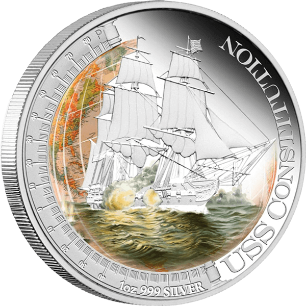Tuvalu 2012 1$ USS Constitution Ships That Changed The World Proof Silver Coin