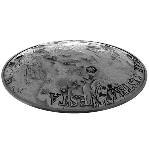 Vesta Solar System 1 oz Antique finish with Meteorite NWA 4664 Silver Coin 1$ Niue 2018