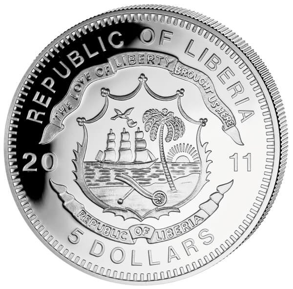 Liberia 2011 5$ PKP Poland. History of Railroads Proof Silver Coin