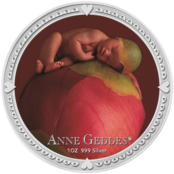 Niue 2012 2$ Anne Geddes - Girl Baby Sleeping on a Peony - Keepsake Set Proof Silver Coin