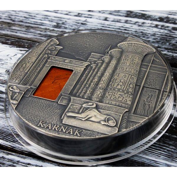 Karnak Masterpieces in Stone 1 kilo Antique finish Silver Coin 10000 Francs CFA Republic of Chad 2018